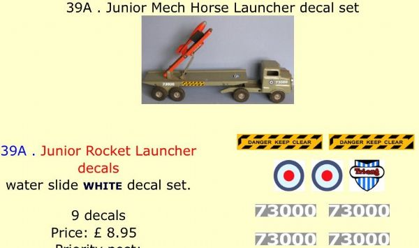 39A . Tri-ang Junior Mech Horse Launcher decal set